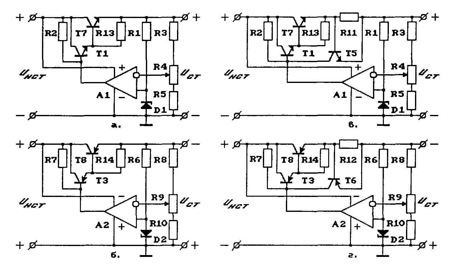 Схемы последовательных стабилизаторов напряжений повышенной мощности на ОУ. а, б - без защиты от к. з., в, г...