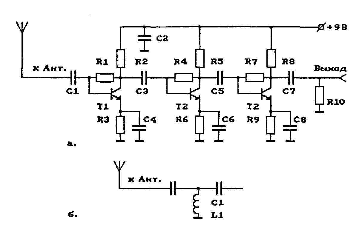 Рис.1 Схема антенного усилителя МВ-диапазона.  Повысить крутизну амплитудно-частотной характеристики (АЧХ)...